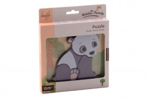 Drewniane puzzle PANDA The wildies Family, Joueco
